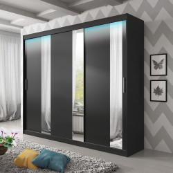 Wardrobe Arctic with sliding doors, mirror and optional LED Lights (250cm)