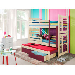 Wooden triple bunk bed Andy 3 with mattresses and 2 drawers - 25 colours of frame and inserts
