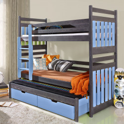 Wooden triple bunk bed Amber M with mattresses and 2 drawers