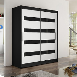 Modern Wardrobe Wendy 4 with sliding doors and glass inserts (150cm)