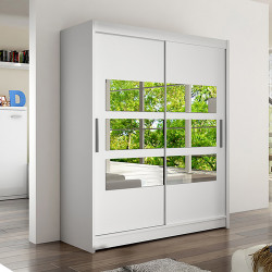Modern Wardrobe Wendy 7 with sliding doors and mirror (150cm)