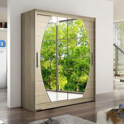 Modern Wardrobe Wendy 8 with sliding doors and mirror (150cm)