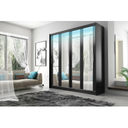 Elegant Wardrobe Amigo 1aa with sliding doors, rail and mirrors (180cm)