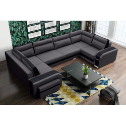 Big U-shaped sofa bed Candy U with 3 storages, footstool, drawer and sleeping function 370cm 12'1''