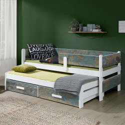 Wooden single bed with trundle with mattresses and 2 drawers