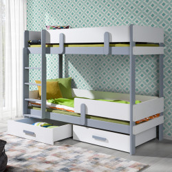 Wooden bunk bed Sally with mattress and 2 drawers - 27 colours of frame and inserts