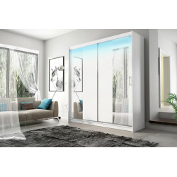 Elegant Wardrobe Amigo 2aa with sliding doors, rail and mirrors (180cm)