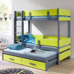 Wooden triple bunk bed with mattresses and 2 drawers
