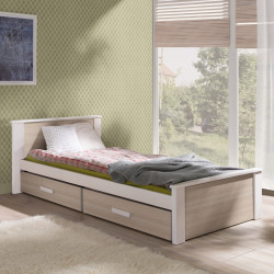 single bed with mattresses and 2 drawers