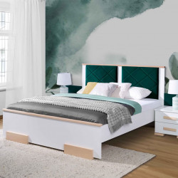 Bedroom bed White and Beech Wood, Bedside Table optional