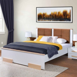 Bedroom Bed White and Beech Wood