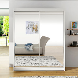Wardrobe with sliding doors and big mirror (150cm)