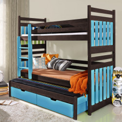 Wooden triple bunk bed Amber M with mattresses and 2 drawers - FAST DELIVERY