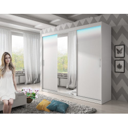 Wardrobe Arctic 2 with sliding doors, mirror and optional LED Lights (250cm)