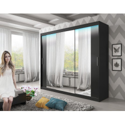 Wardrobe Atago 12XL AA with sliding doors, mirror and optional LED Lights (250cm)
