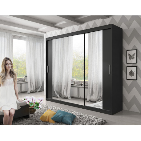 Wardrobe Atago 12XL AA with sliding doors, mirror and optional LED Lights (250cm)