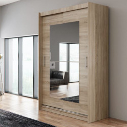 Wardrobe Atago 12M with sliding doors, mirror and optional LED Lights (150cm)