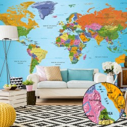 XXL wallpaper  World Map Colourful Geography II