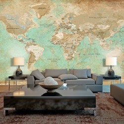 XXL wallpaper  Turquoise World Map II