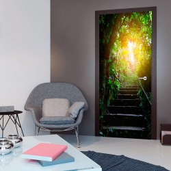 Photo wallpaper on the door  Photo wallpaper  Stairs in the urban jungle I