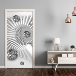 Photo wallpaper on the door  Photo wallpaper  Black and white abstraction I