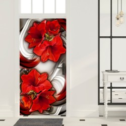 Photo wallpaper on the door  Photo wallpaper  Abstraction and red flowers I