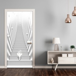 Photo wallpaper on the door  Photo wallpaper  White stairs and jewels I