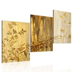 Handmade painting  Golden leaves