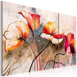 Handmade painting  Poppies lashed by the wind