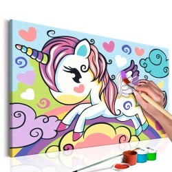 DIY canvas painting  Colourful Unicorn