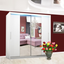 Wardrobe Atago 4L with sliding doors, mirror and optional LED Lights (180cm)