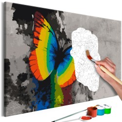 DIY canvas painting  Colourful Butterfly