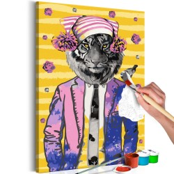 DIY canvas painting  Tiger in Hat