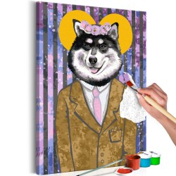 DIY canvas painting  Dog in Suit