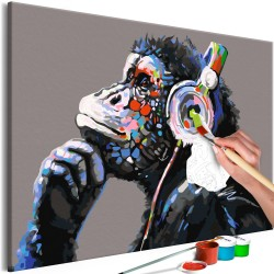 DIY canvas painting  Musical Monkey