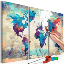 DIY canvas painting  World Map (Blue & Red) 3 Parts