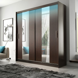Elegant Wardrobe Amigo 3aa with sliding doors, rail and mirrors (180cm)