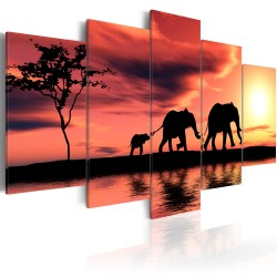 Canvas Print  African elephants family