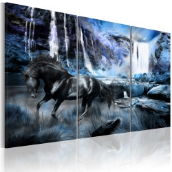 Canvas Print  Waterfall in colour of sapphire
