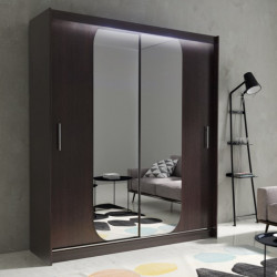 Wardrobe Atago 11M with sliding doors, mirror and optional LED Lights (150cm)