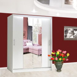 Wardrobe Atago 4M with sliding doors, mirror and optional LED Lights (150cm)