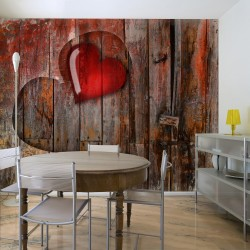 Wallpaper  Heart on wooden background