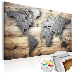 Decorative Pinboard  Silver World [Cork Map]