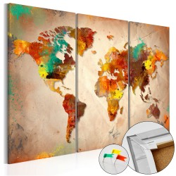 Decorative Pinboard  Painted World [Cork Map]