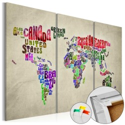 Decorative Pinboard  Colorful Countries [Cork Map]