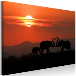 Canvas Print  Elephants in Love (1 Part) Wide