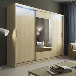 Wardrobe Atago 1 with sliding doors, mirror and optional LED Lights (250cm)