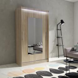 Wardrobe Atago 6S with sliding doors, mirror and optional LED Lights (120cm)