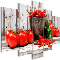 Canvas Print  Red Vegetables (5 Parts) Wood Wide