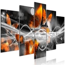 Canvas Print  Swarm of Butterflies (5 Parts) Wide Grey